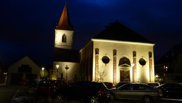 Conception lumière Herrlisheim, aménagement du parvis de l'église